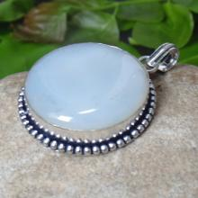 Blue Chalcedony Pendant -Round Chalcedony Jewelry - Cabochon Handmade Pendant - Bezel Set Jewelry - Sterling Silver Pendant