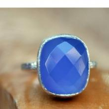 Blue Chalcedony Ring - Blue Gemstone Ring - Blue Sterling Silver - Handmade Blue Ring