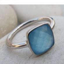 Blue Chalcedony Ring- Blue Topaz Ring- Stone Ring- Gemstone Ring- Blue Stone Ring- Silver Ring- Quartz Ring- Topaz Ring