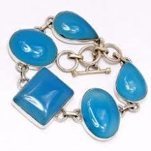 Blue Chalcedony Silver bracelets