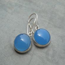 Blue Chalcedony earrings - Dangle Earrings - Blue earrings - Bezel earrings - Cabochon earrings