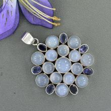 Blue Chalcedony, Iolite Pendant Bezel set in Handmade Sterling Silver, High Quality Gemstone Jewelry, Large Multi Stone Pendan