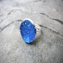 Blue Druzy Ring, Blue Cabochon Ring, Faux Druzy Ring, Blue Crystal Ring, Blue Gemstone Ring, Statement Ring, Adjustable Ring, Druzy Jewelry