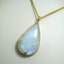 Blue Flashy Rainbow Moonstone Gemstone Cabochon Gold Plated Pendant Necklace bridal wear jewelry bridesmaid necklace