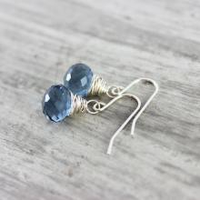 Blue Quartz Earrings, Small Dangle Earrings, Wire Wrap Earrings, Sterling Silver Earrings, London Blue Earrings, Blue Gemstone Earrings