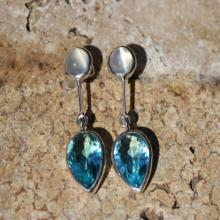 Blue Quartz and White Moonstone Earrings Bezel Set in Sterling Silver, Post Stud Gemstone Earrings