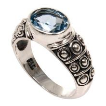Blue Topaz Balinese Band Ring Sterling Silver