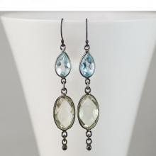 Blue Topaz Earrings - Oxidized Silver Earrings - Green Amethyst Gemstone Earrings - Long Dangle Earrings