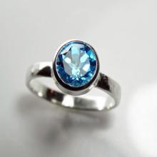 Blue Topaz Engagement Ring Alternative Gemstone Jewelry Sterling Silver