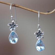 Blue Topaz Floral Earrings, 'Plumeria Dew'