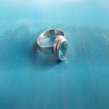 Blue Topaz Gemstone ring silver 925 jewelry. Faceted sky blue gem ANELLO Argento 925 Topazio Azzurro. Gioielli argento pietre dure blu