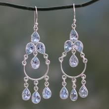 Blue Topaz Handcrafted Sterling Silver Chandelier Earrings, 'Azure Elegance'