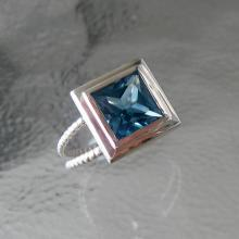 Blue Topaz Ring, Double Shank, Princess Cut, Sterling Split Rope Band,