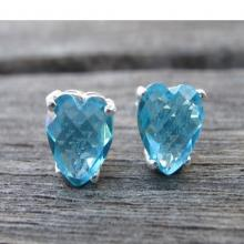 Blue Topaz Studs- Heart Post-Topaz Earrings-Silver Studs Stone Posts- Gemstone Studs-Blue Quartz Necklace-Birthstone Necklace