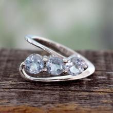 Blue Topaz Three-Stone Silver Ring