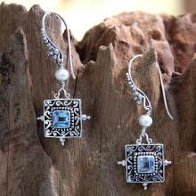 Blue Topaz and Pearl Silver Dangle Earrings, 'Celuk Muse'
