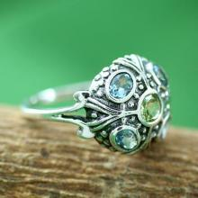 Blue Topaz and Peridot Sterling Silver Ring