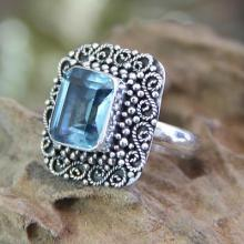 Blue Topaz and Sterling Silver Cocktail Ring