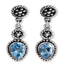 Blue Topaz and Sterling Silver Dangle Earrings, 'Balinese Jackfruit'