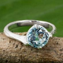 Blue Topaz and Sterling Silver Solitaire Ring