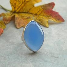 Blue chalcedony ring - Blue ring - Bezel ring - Marquise ring - Gemstone ring - Bold ring