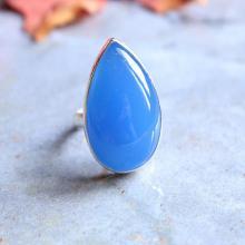 Blue chalcedony ring - cornflower Blue ring - Bezel ring - Gemstone ring - Gift for her- sterling silver