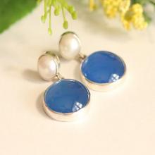 Blue earrings - Pearl earrings - Blue Chalcedony earrings - Bezel earrings - Post earrings - Gemstone