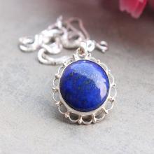 -Blue pendant - Lapis lazuli pendant Lapis pendant - artisan - Bezel pendant - Round pendant - Gemstone pendant