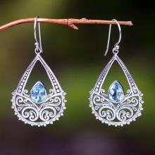 Blue topaz floral earrings, 'Denpasar Light'