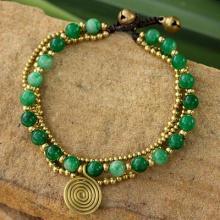 Brass Beaded Aventurine Bracelet from Thailand