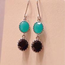 Bridal Aqua & Black Dangle Earring Black Onyx Aqua Chalcedony Earrings  Mint Black Earrings  Aqua-Blue Black Party Prom Earrings