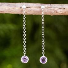 Brushed Sterling Silver and Amethyst Long Earrings, 'Light'