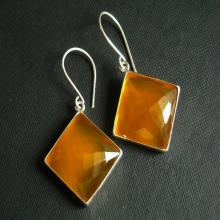 Canary earrings - Yellow earrings - Chalcedony earrings - Square earrings - Bezel earrings - Silver