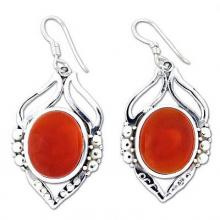 Carnelian Earrings in Sterling Silver from India, 'Passion Leaf'