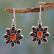 Carnelian Floral Earrings with Garnet Petals, 'Passionate'