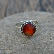 Carnelian Gemstone Ring- Solid 925 Sterling Silver Ring- Round Faceted Orange Ring- Birthstone Ring Jewelry- Gift Ring