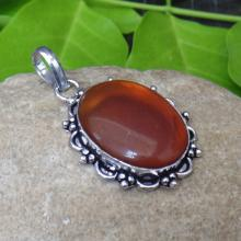 Carnelian Glass Pendant - Handcrafted Pendant - Sterling Silver Pendant - Designer Indian Fashion Pendant - Party Wear Jewelry