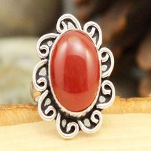 Carnelian Ring Sz 6.5, Silver Carnelian Ring, Crystal Ring, Gemstone Ring, Boho Ring, Cocktail Ring, Statement Ring, Orange