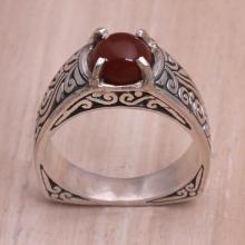 Carnelian and Sterling Silver Single Stone Ring