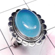 Chalcedony Cab Ring, Unique Ring, Women Ring, Silver Gemstone Ring, Indian Silver Ring, Indian Gemstone Ring
