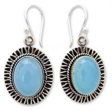 Chalcedony dangle earrings, 'Radiant Sky'