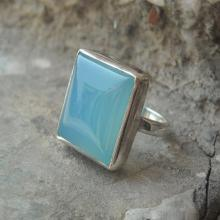 Chalcedony ring - Blue ring - Square shape ring - Square ring - Bezel ring - Gemstone ring