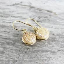 Champagne Druzy Earrings, Druzy Quartz Earrings, Peach Druzy Earrings, Gold Gemstone Earrings, Small Dangle Earrings, Wire Wrap Earrings