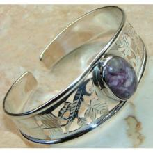 Charoite Cabochon Bangle 925 Sterling Silver