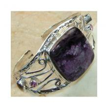 Charoite Pink Topaz Citrine Faceted Bangle 925 Sterling Silver