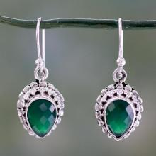 Checkerboard Cut Green Onyx and Sterling Silver Earrings, 'Evergreen Dreams'
