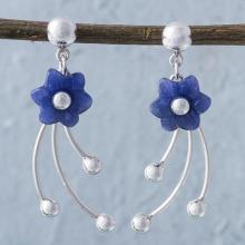 Chrysocolla Floral Dangle Earrings