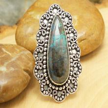 Chrysocolla Ring Sz 8, Silver Chrysocolla Ring, Statement Ring, Crystal Ring, Gemstone Ring, Boho Ring, Cocktail Ring