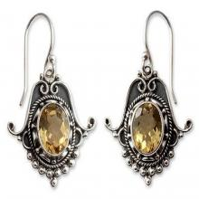 Citrine Earrings in Sterling Silver Jewelry from India, 'Jaipuri Glam'