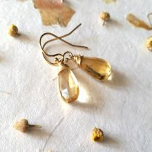 Citrine Earrings, AAA Natural Honey Citrine 14 K Gold Filled Jewelry, Gemstone Earrings